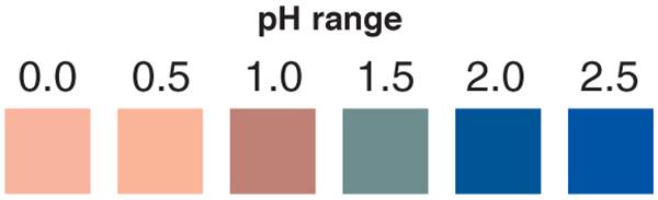 pH 0-2.5 test strips, ph test strips, acidic ph test strips